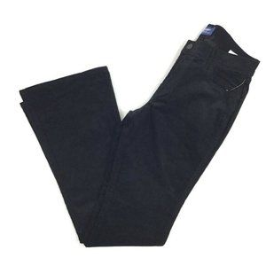 Old Navy Flare Corduroy Pants Women 8 Black Solid Mid Rise Cotton Casual